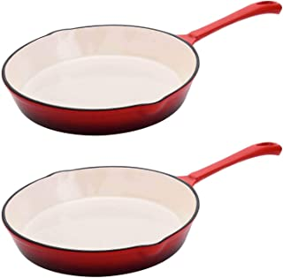 Hamilton Beach 8 Inch Enameled Coated Cast Iron Frying Pan Skillet, Red (2 Pack)
