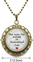 AllGlassCharm Autism Jewelry-Pendant Necklace The Cure for Autism is Unconditional Love-Puzzle Piece Charm-Autism Jewelry,AS033
