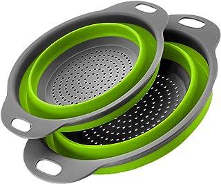 tingz Juego de coladores Plegables 2 Piezas,cestas de Filtro Plegables portátiles Cuencos Recipiente colador de Goma para ...