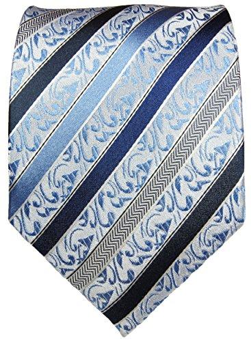 Krawatte blau Barock 100% Seide von Paul Malone in hochwertiger, schwerer Qualität