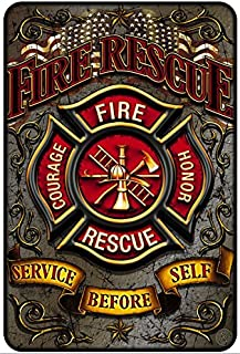 Firefighter Wall Décor Signs, Metal Sign (FIRE RESCUE: Service Before Self) Fireman themed Parking Sign and Man Cave Décor – 8x12 Metal Wall Art Décor – EMT Firefighter Gifts for Men, Metal Bar Sign