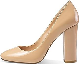 Eldof Women's Block Heel Pumps 4inches Round Toe Sexy Heels Elegant Comfort Classic High Heels Office Wedding Shoes