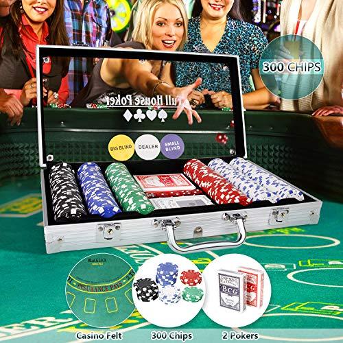 CCLIFE 300 500 PCS Pokerset Profi Pokerspiel inkl. Pokerkoffer Pokerdecks Dealer Button Poker Set Pokerchips Tischauflage Größe:300 Chips