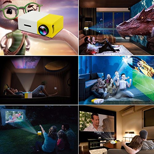 Mini Projector,ELEGIANT Portable 1080P LED Projector Outdoor Home Cinema Theater with PC Laptop USB/SD/AV/HDMI Input Pocket Projector for Video TV