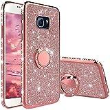 TVVT Glitter Crystal Funda para Samsung Galaxy S6, Glitter Rhinestone Bling Carcasa Soporte Magnético de 360 Grados Ultrafino Suave Silicona Lujo Brillante Rhinestone - Rosa