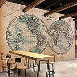 Msrahves fotomurales xxl Retro nostalgia mapa del mundo moda 210X140CM Fotomural Vinilo para Pared Infantil Fotomural para Paredes Mural Decorativo Decoración comedores Salones Habitaciones