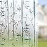 LMKJ Película de Vidrio estático Vinilo 3D Madera de bambú Protección de privacidad Anti-UV Esmerilado Etiqueta de Ventana extraíble Película de Vidrio A26 30x200cm