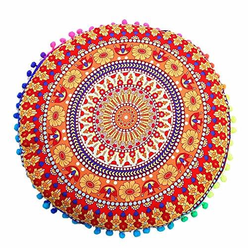 Vovotrade Indien Mandala Sol Oreillers Rond Bohémien Coussin Oreillers Couverture Cas Coussins (A, Multicolore)