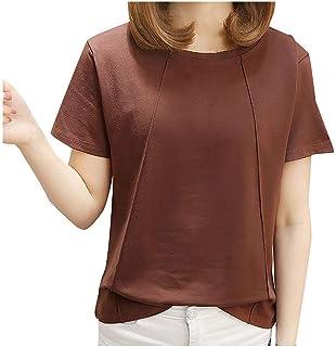 FELZ Camiseta para Mujer Moda para Mujer Camiseta Manga Corta Color SóLido Cuello Redondo Jersey Blusa Casual Pullover Top...