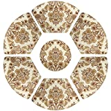 Grelucgo Set of 7 Wedge Place mats and Centerpieces Set for Round Tables, Khaki