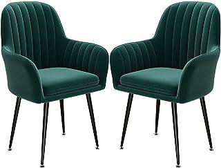 ZCXBHD Sillas Comedor Conjunto de 2 Franela Mostrador Cocina Salon Sillas Sala de la Esquina Sillas recepción con Respaldo y Asiento tapizado Butaca (Color : Green)
