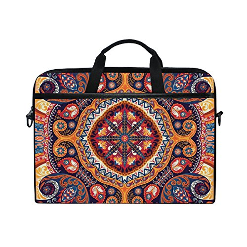 JSTEL Vintage Paisley Mandala Laptop Shoulder Messenger Bag Case Sleeve for 14 inch to 15.6 inch with adjustable Notebook Shoulder Strap