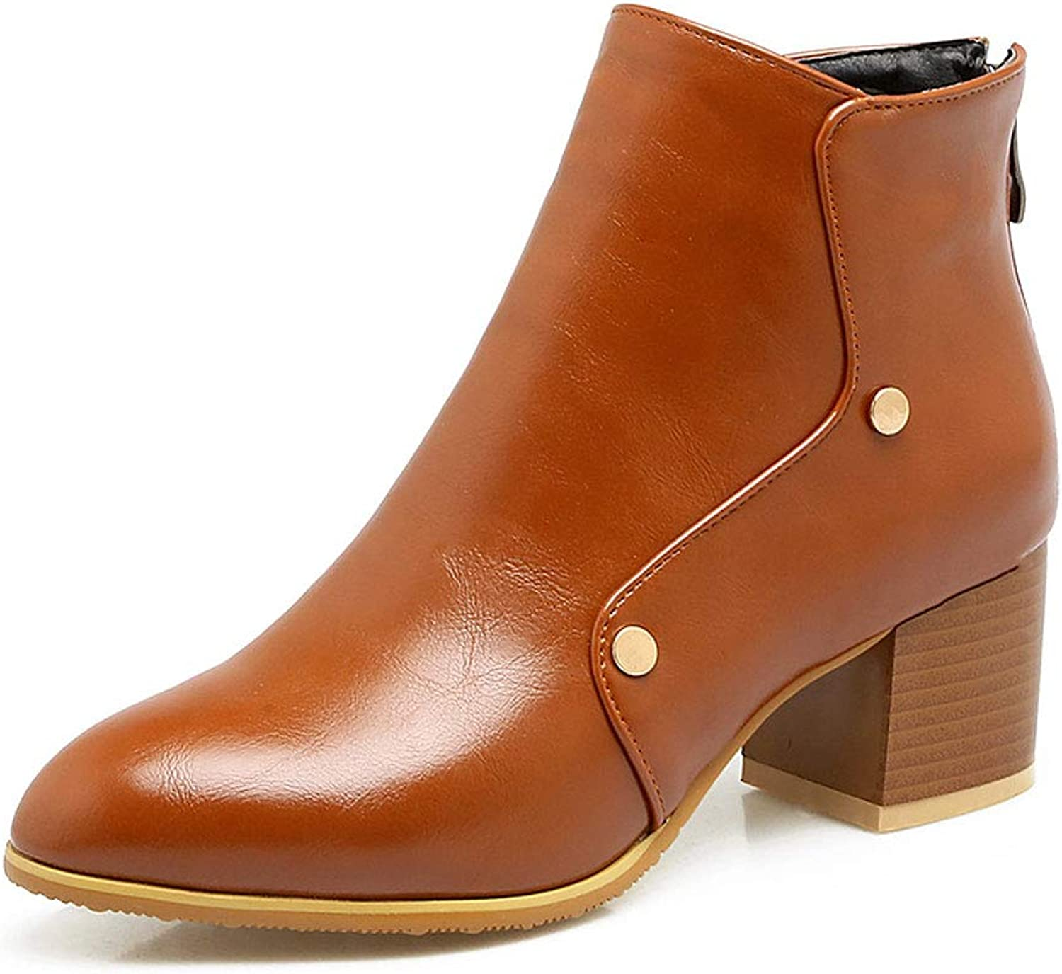 Casual Ankle Boots, High Heel Low Tube Martin Boots Thick with Back Zipper Short Boots Waterproof Round Head Knight Boots Ladies Rivet shoes