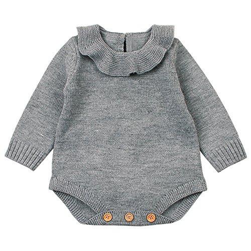 Mono Bebé, LANSKIRT Recién Nacido Bebé Niña Color Sólido Manga Larga Tejido...