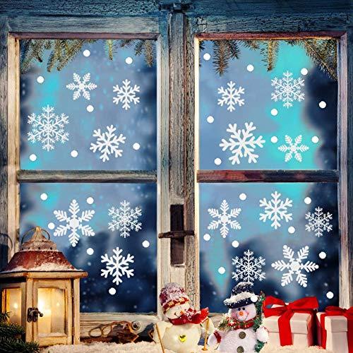 ZHOUZHOU Weihnachtsdeko Schneeflocken fenstersticker,162 Schneeflocken Fensterbilder,Weihnachtsdeko Fenster,Fensterbilder Weihnachten PVC Statisch Haftende Aufkleber für Schaufenster Vitrinen Deko