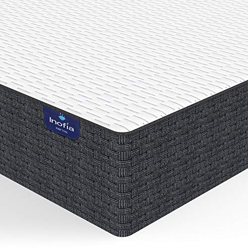 Full Mattress, Inofia 10 Inch High Resilience Foam Double Mattress in a Box, More Breathable & Supportive Than Memory Foam, Pressure Relief & Cooler Sleeping, Medium Firm Feel, 100-Night Trial