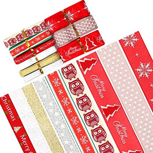 Weihnachten Bänder Geschenkban,Weihnachtsbänder, Weihnachts-Ripsband Winterferienband Weihnachtsverpackungsband Geschenkverpackungsbänder für Schleifen für Babyparty-Partydekoration (9 Style)