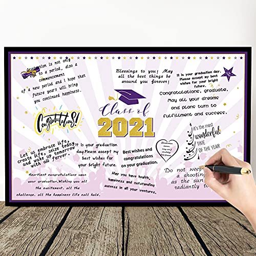 2021 Graduation Decoration Congrats Grad, Congratulations Greeting Card Guest Book Alternative Class of 2021 Sign Poster for College High School Graduation Party Supplies (Purple and Gold)