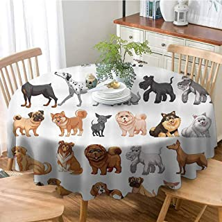 VICWOWONE Durable Round Tablecloth Dog Lover Decor Collection Different Type of Dogs Small and Big Dalmatian Golden Fur Fluffy Faithful Creature Machine Washable Brown Gray D43