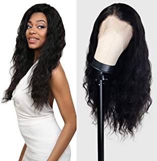 UpScale 100% Unprocessed Virgin Remi Human Hair Hand Made 150% Density Glueless Brazilian Human Full Lace Wig Ocean Wave NATURAL Color (24