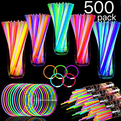 """TURNMEON 500 Glow Sticks Bulk Party Favors,Halloween Glow In the Dark Party Supplies Glow Sticks Necklaces Bracelets with Connectors 8"""" Glowsticks Light Up Toys Party Pack for Neon Festival Birthday"""