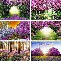 写真撮影の背景春の庭のラベンダー紫ピンクの花のシャワーの誕生日の背景写真スタジオ Photophopne-250x180CM