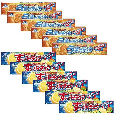 森永製菓 すッパイチュウ レモン味 12粒×6本  うまイチュウ みかん味 12粒入×6本 よくばり2種12本セット
