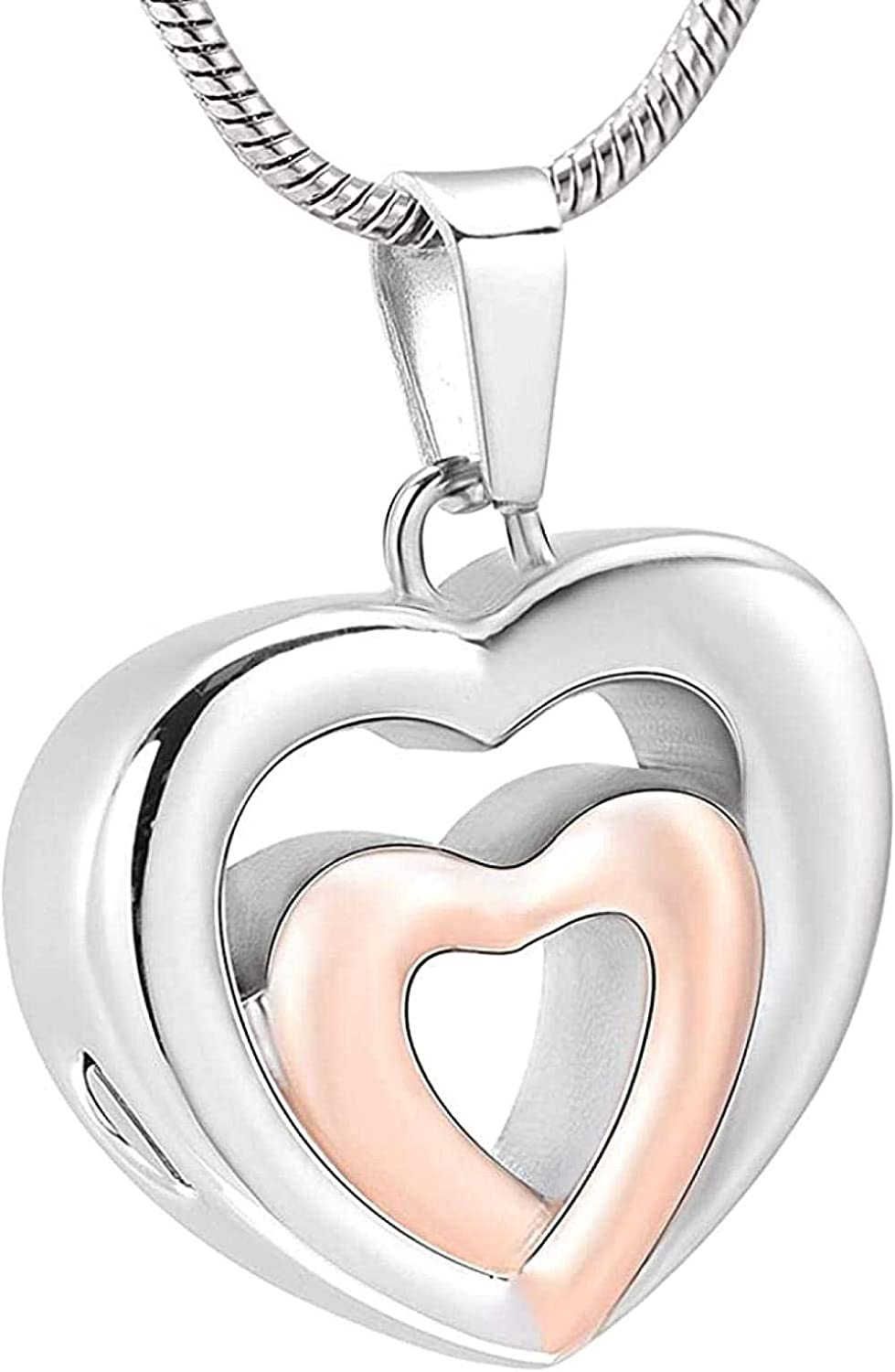 AEGW Cremation Memorial Memorial Cremation Cremation Necklace Cremation Jewelr Pet Memorial Cylinder Stainless Steel Necklace Support Ash Double Heart Cremation Jewelry-Rose_Golden