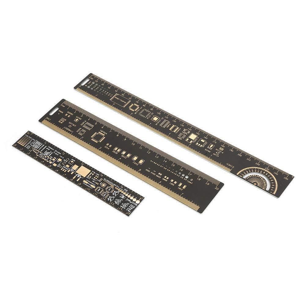 Medidor de placa de circuito de alta precisión, regla de PCB de 3 piezas, para ingenieros electrónicos, entusiastas de la electrónica