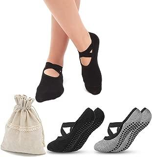 Yoga Socks for Women,  Non Slip Anti-Skid Socks with Grips for Barefoot Workout Barre Pilates PiYo Fitness Vonpri