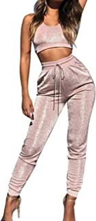 Women's Peach Pink Glitter Shine Suede 2 Piece Sets Sparkle Crop Top Leggings Tracksuits Sports Matching Suits