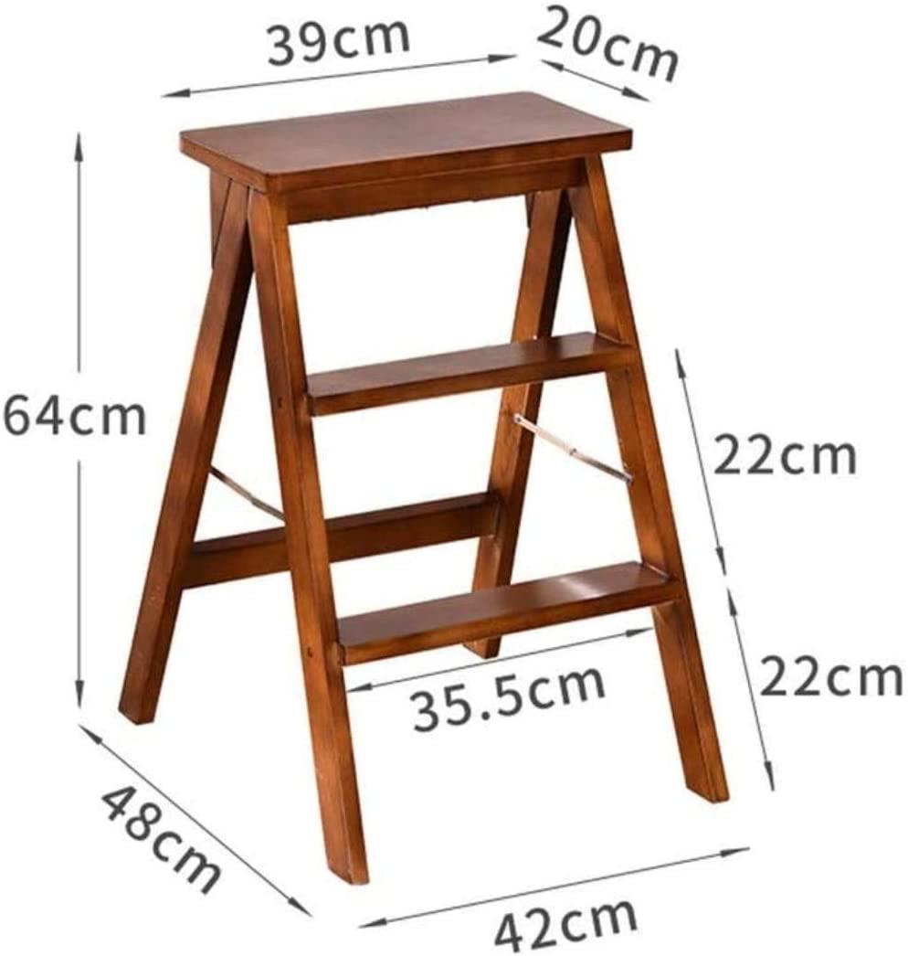 Panier sale Escabeau Tabouret Pliable Ladder, Secure Ladder Épaissie Ladder en Bois Tabouret Accueil Cuisine Tabouret chaises Pliantes (Color : Brown) Brown