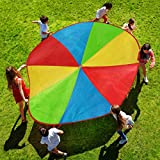 Hey! Play! Activity Parachute-Large 8 Foot Colorful Kids Canopy with 8 Handles-Indoor Outdoor Play Equipment for Playground, Backyard, or Gym Class