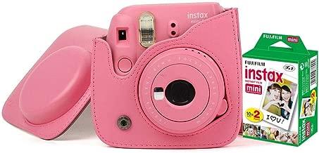 Fujifilm Instax Mini 9 Camera With Leather Bag and 20x Film Sheet - Flamingo Pink