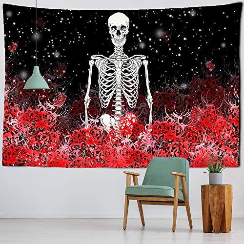 Tapiz de yoga con diseño de calavera, flores rojas, cojín para dormir, tela de poliéster con diseño de esqueleto psicodélico impreso para colgar en la pared, impresión HD