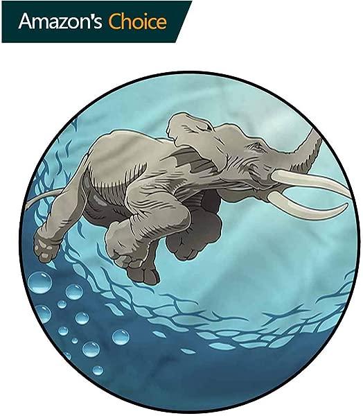 RUGSMAT Animal Anti Skid Area Rug Elephant In Tropic Ocean Non Slip Bathroom Soft Floor Mat Home Decor Diameter 35