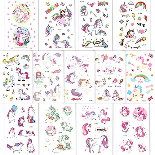 Girls Unicorn Temporary Tattoos, Konsait 145pcs Unicorn Tattoo Kids Unicorn Party Supplies Great Girls Party Favors For Children's Birthday Party Goody Bag Pinatta Fillers Beach Pool Party(13 Sheets)