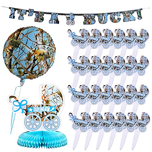 Havercamp Light Blue Camo Baby Boy Bundle | Banner, Centerpiece, Party Picks, Mylar Balloon | Great for Gender Reveal Party, Baby Shower