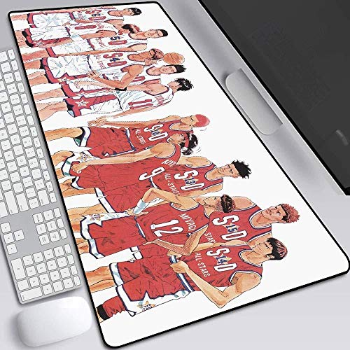 Unique Basketball Style Mouse Mats Table Mat Gaming Anime Keyboard Mat -Non-Slip Rubber Base and Water Resistant Stitched Edge -80X30X0.5CM_E Mouse pad Large cjn675