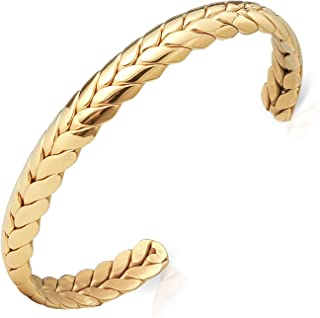 Lolalet Wide Open Cuff Bracelet, 18K Gold Plated Wheat Style Couples Love Bracelets, Weave Braided Twisted Open Cuff Bangle Jewelry Gift for Men Women –Gold