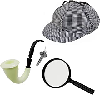 Sherlock Holmes Detective Hat, Pipe, Key & Magnifying Glass Costume Set