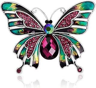 Xuxuou 1 x Damen-Brosche mit Strasssteinen besetzt, Schmetterlings-Brosche für Bankett, Party, Hochzeit, Brautschmuck, Schal