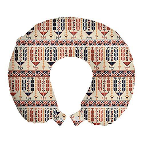ABAKUHAUS Étnico Cojín de Viaje para Soporte de Cuello, Formas geométricas, Cómoda y Práctica Funda Removible Lavable, 30x30 cm, Salmón Oscuro cáscara de Huevo