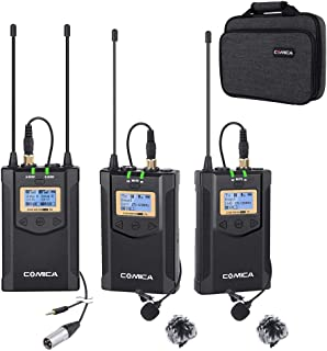 Wireless Microphone COMICA CVM-WM100 Plus 48-Channel Professional UHF Dual Wireless Lavalier Lapel Microphone System for C...
