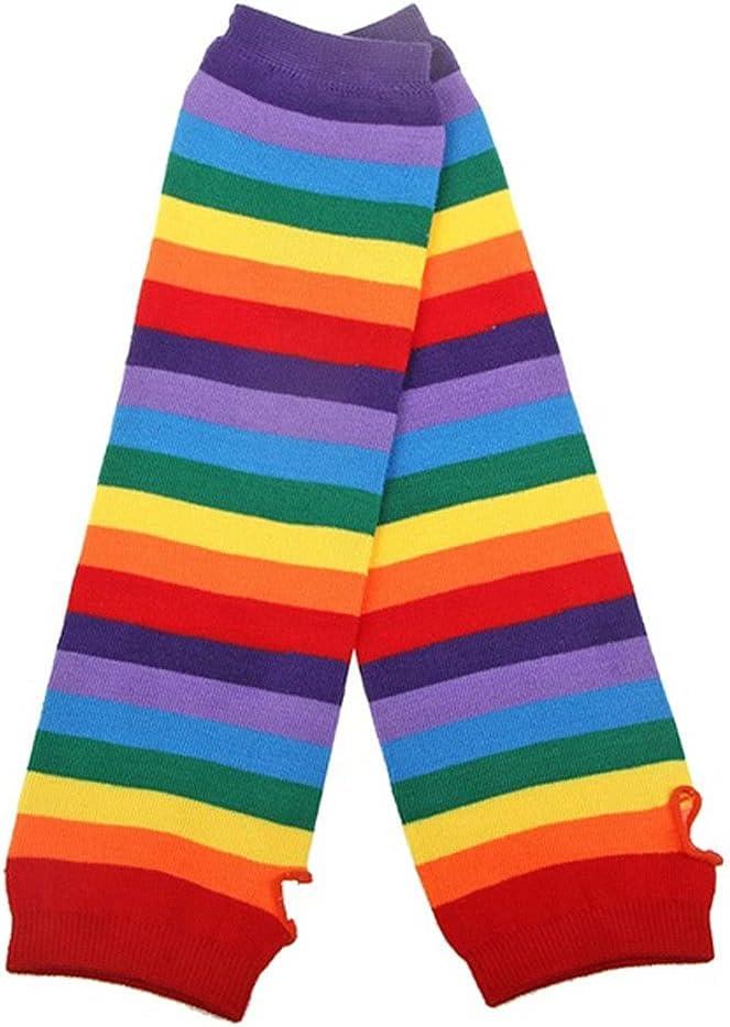FEIMJLLK Fingerless Gloves for Women 6Pc Mittens Sockings for Women Colorful Rainbow Striped Long Gloves Socks Warmer Arm Fingerless Knit Mittens Sockings