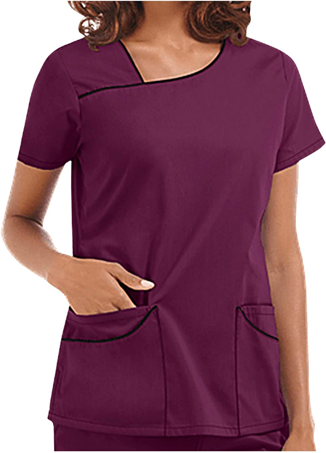 Scrub_Top for Women Short Sleeve Care Workers Nursing Shirts Wor