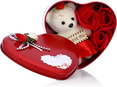 Collectible India Artificial Heart Shape Gift Box And Teddy and Rose (Multicolour, 1 Piece)
