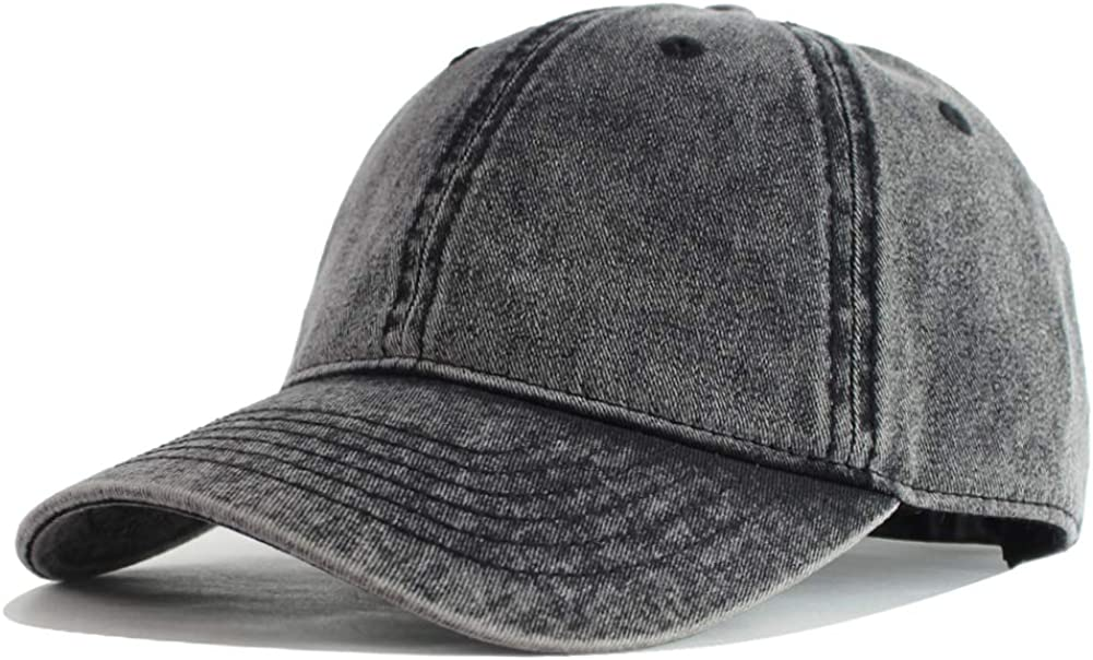 HH HOFNEN Men and Women Washed Cotton Baseball Cap Snow Classic Style Adjustable Low Profile Dad Hat