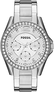 Fossil Womens 40mm Silvertone Riley Stainless Steel Watch