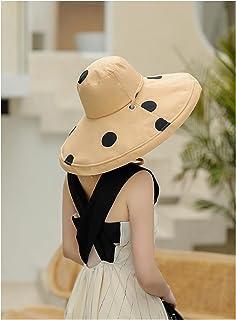 CDDKJDS قبعة قطنية منقطة كبيرة الشمس للنساء قبعات شاطئ كبيرة الحجم اكسسوارات الربيع والصيف (اللون: كاكي، الحجم: 56-58 سم)